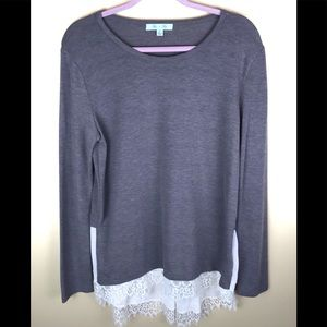 SHE + SKY Taupe Pullover Sweater w/ Lace Hem Sz Lg